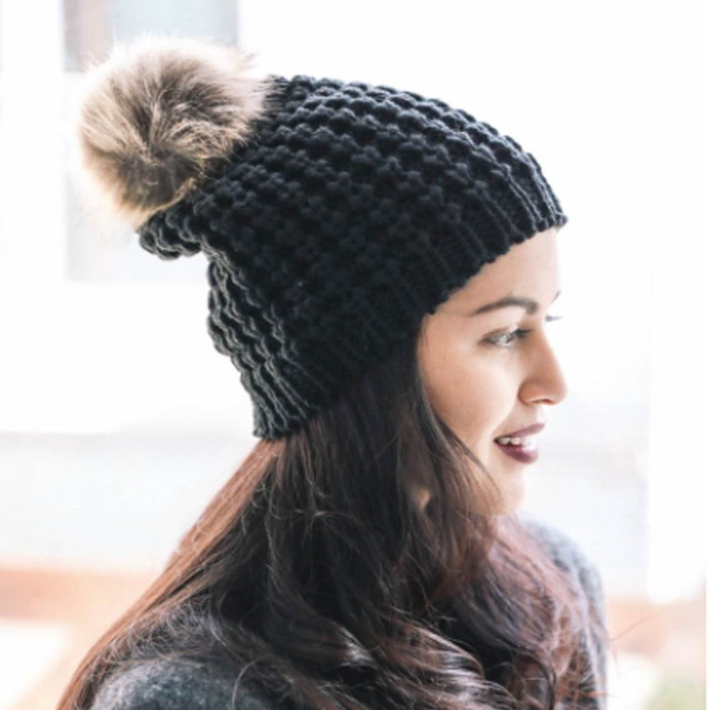 Load image into Gallery viewer, Textured Beanie with Pom Pom in Black Beachdashery Jewelry