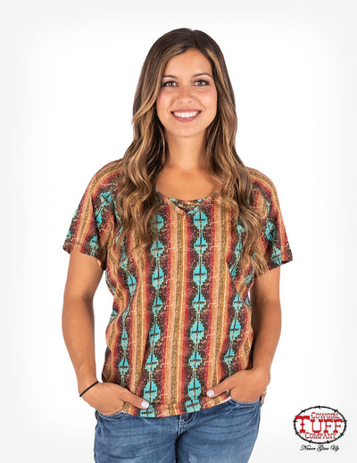 Cowgirl Tuff Aztec Strappy V Neck Top