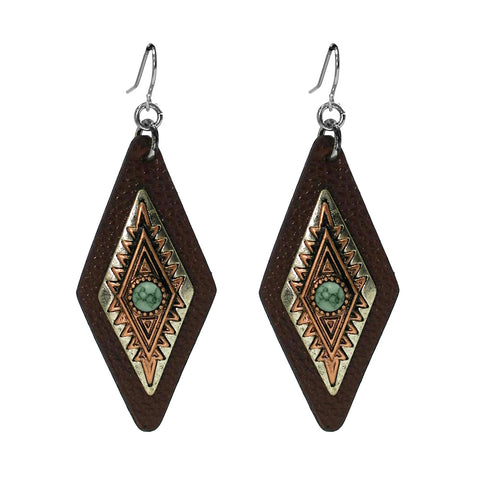 Leather Diamond Aztec Earrings