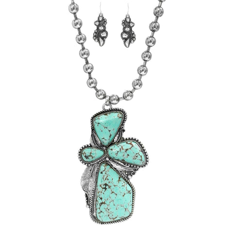 Turquoise Cluster Necklace Set
