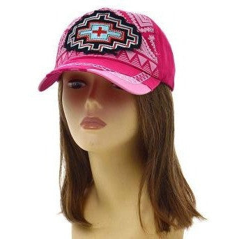 Pink Aztec Cadet Cap - Ropes and Rhinestones