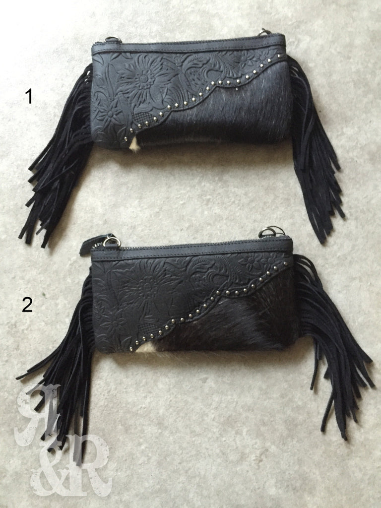 Black Cowhide Clutch - Ropes and Rhinestones