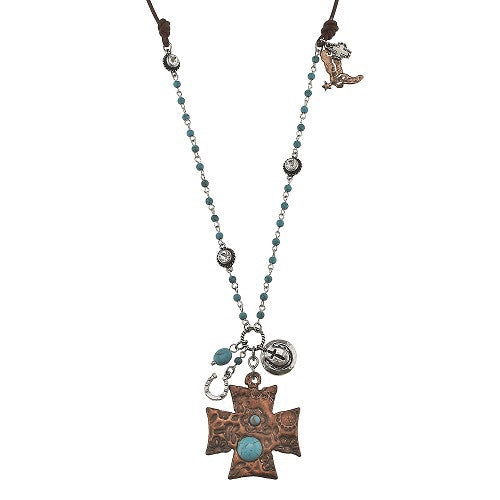 Chopper Cross Charm Necklace - Ropes and Rhinestones