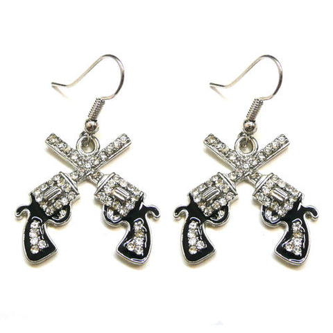 Crossed Pistol Earrings - Ropes and Rhinestones