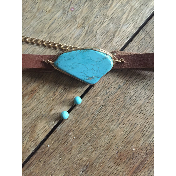 Leather & Turquoise Choker - Ropes and Rhinestones