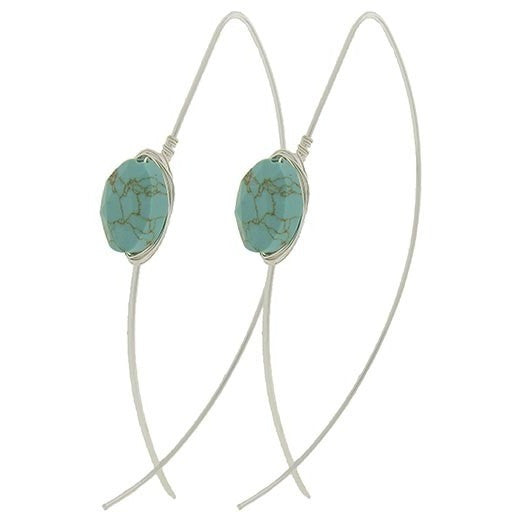 Turquoise Wrapped Stone Earrings - Ropes and Rhinestones