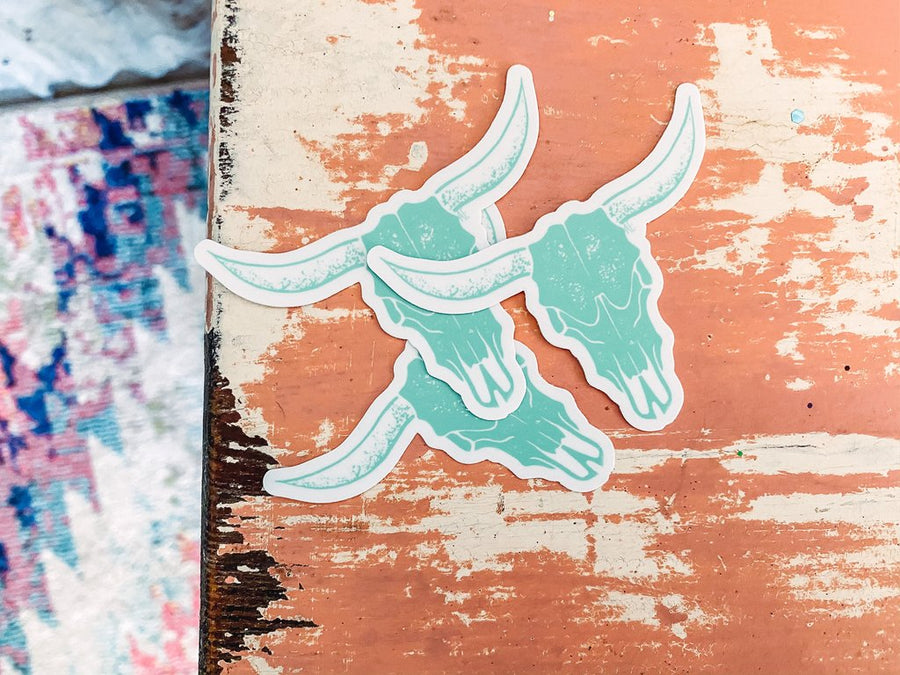 Mint Cow Skull Sticker