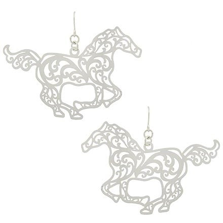 Running Horse Filigree Earrings - Ropes and Rhinestones