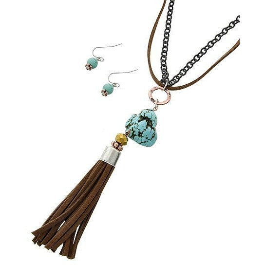 Tassle Turquoise Necklace - Ropes and Rhinestones