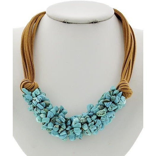 Turquoise & Suede Necklace - Ropes and Rhinestones