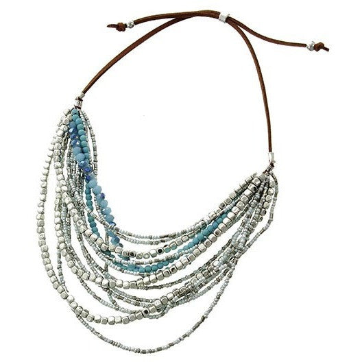 Multi Strand Glass & Crystal Bead Necklace - Ropes and Rhinestones