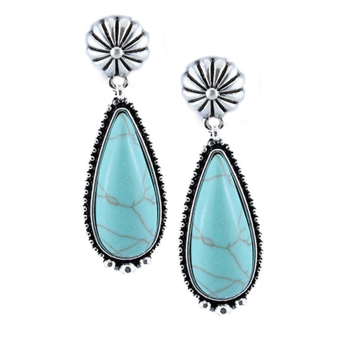 Turquoise Tear Drop Stud Earrings