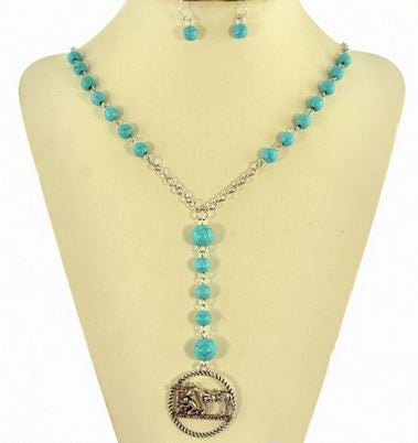 Cowboy Prayer Turquoise Necklace Set - Ropes and Rhinestones