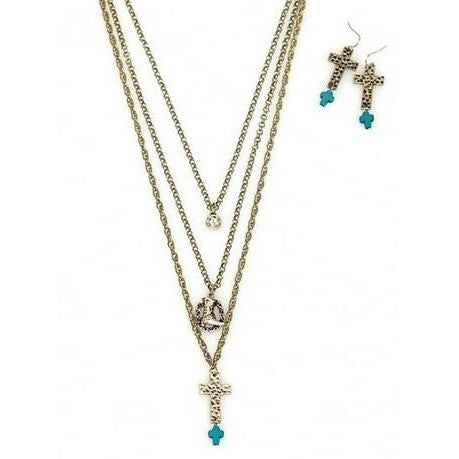Layered Western Charm Necklace Set - Ropes and Rhinestones