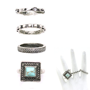 Turquoise & Silver Ring Set - Ropes and Rhinestones