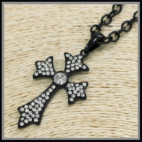 Clear Rhinestone Cross Necklace - Ropes and Rhinestones