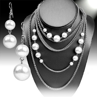 Multi Strand Pearls Necklace Set - Ropes and Rhinestones