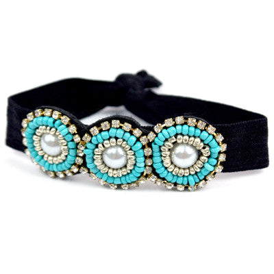 Beaded Elastic Bracelet - Ropes and Rhinestones