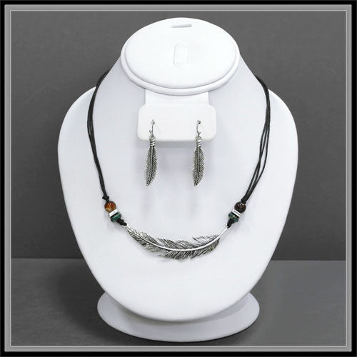 Feather Necklace & Earring Set - Ropes and Rhinestones