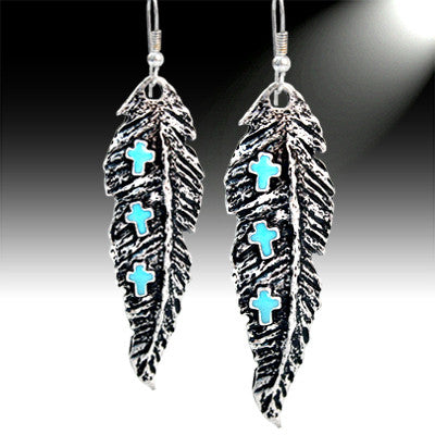 Feather & Turquoise Cross Earrings - Ropes and Rhinestones