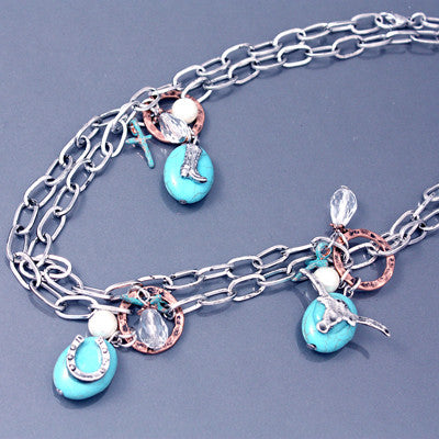 Western Turquoise Charm Necklace - Ropes and Rhinestones