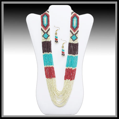 Seed Bead Color Block Necklace Set