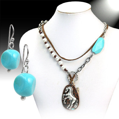 Turquoise & Pearl Horse Necklace Set - Ropes and Rhinestones