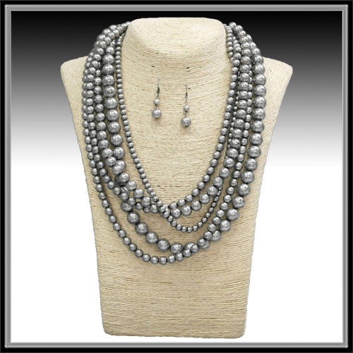 Multi Strand Silver Necklace - Ropes and Rhinestones