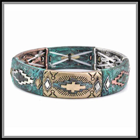Aztec Stretch Bracelet - Ropes and Rhinestones