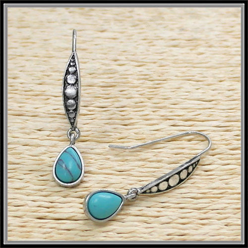 Tear Drop Turquoise Earrings - Ropes and Rhinestones