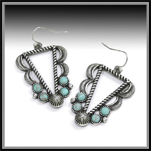 Turquoise Triangle Earrings - Ropes and Rhinestones