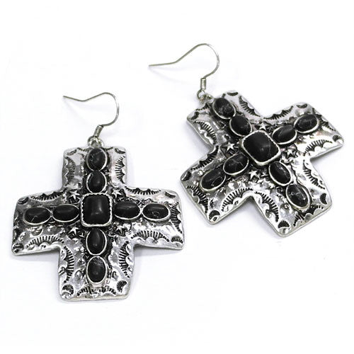 Stone Cross Earrings - Ropes and Rhinestones