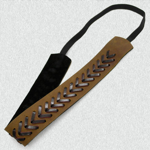 Stitched Leather Headband - Ropes and Rhinestones