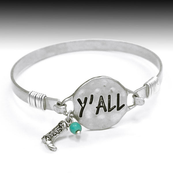 Y'all Bangle Bracelet - Ropes and Rhinestones