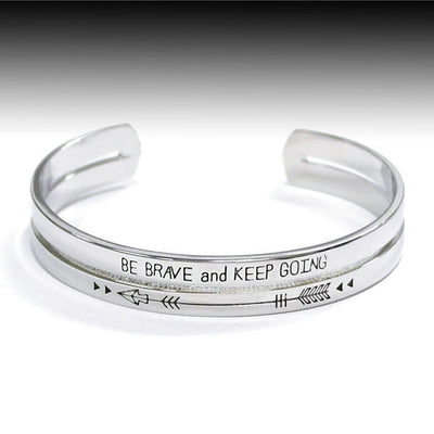 Be Brave and Keep Going Bracelet - Ropes and Rhinestones