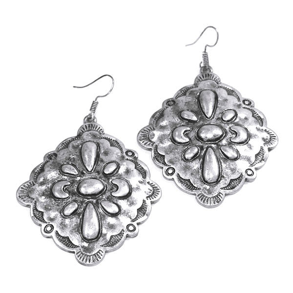 Square Silver Earrings - Ropes and Rhinestones