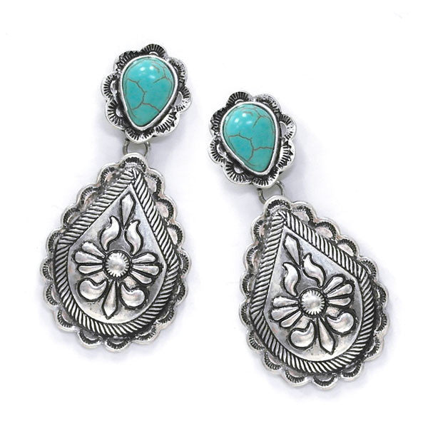 Turquoise Earrings with Silver Drop - Ropes and Rhinestones