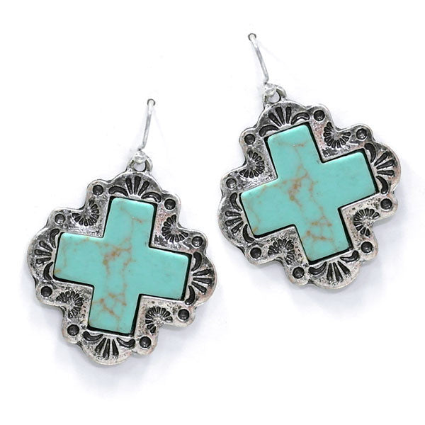 Turquoise & Silver Cross Earrings - Ropes and Rhinestones