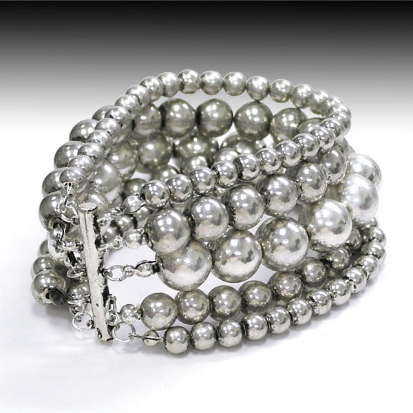 Multi Strand Silver Bracelet - Ropes and Rhinestones