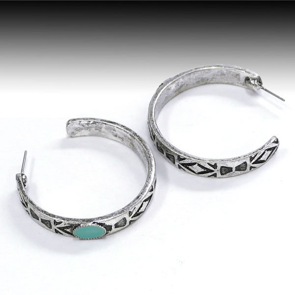 Silver & Turquoise Hoop Earrings - Ropes and Rhinestones