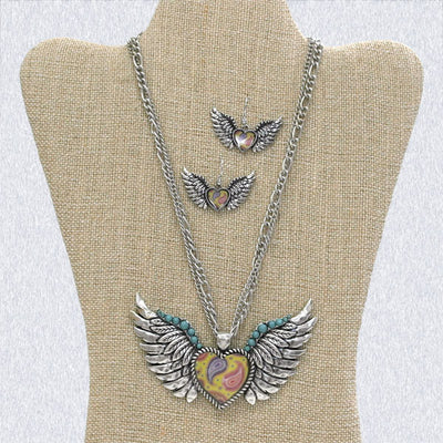 Heart with Wings Necklace Set - Ropes and Rhinestones
