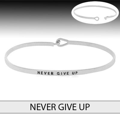Never Give Up Bangle Bracelet - Ropes and Rhinestones