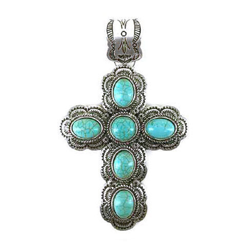 Turquoise Cross Pendant - Ropes and Rhinestones