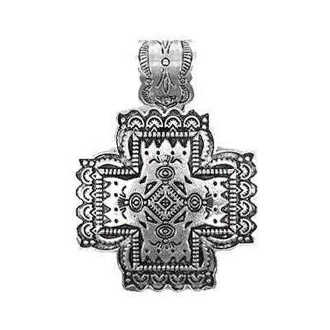 Square Silver Cross Pendant - Ropes and Rhinestones
