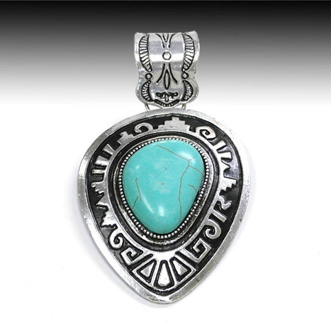 Southwest Turquoise Pendant - Ropes and Rhinestones