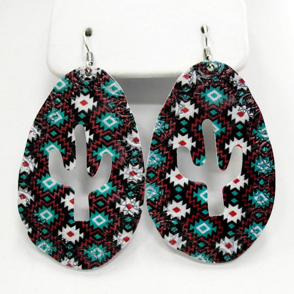Aztec Cactus Earrings - Ropes and Rhinestones