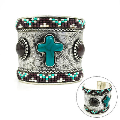 Silver Beaded Cross Cuff - Ropes and Rhinestones