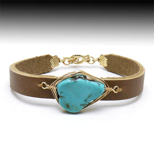 Leather & Turquoise Bracelet - Ropes and Rhinestones
