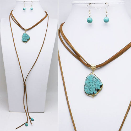 Triple Strand Leather Necklace with Turquoise - Ropes and Rhinestones