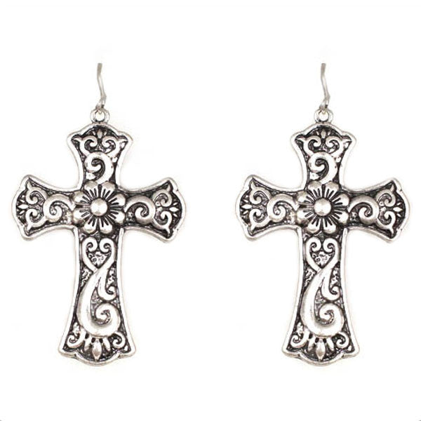 Cross Scroll Earrings - Ropes and Rhinestones